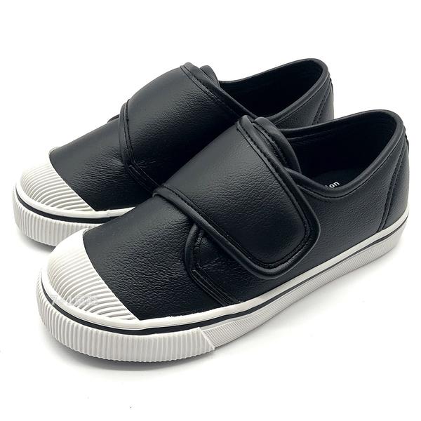 《7+1童鞋》普萊米 Private 精緻皮革 基本百搭 一片式魔鬼氈 休閒鞋 F272 黑色