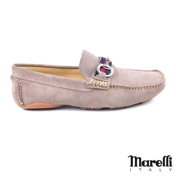 【Marelli】雙D釦飾反絨皮休閒鞋 淺灰(560562-GYS)