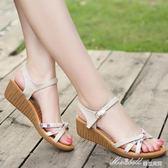 坡跟涼鞋 涼鞋女中跟百搭厚底坡跟牛筋底簡約平底涼鞋   蜜拉貝爾