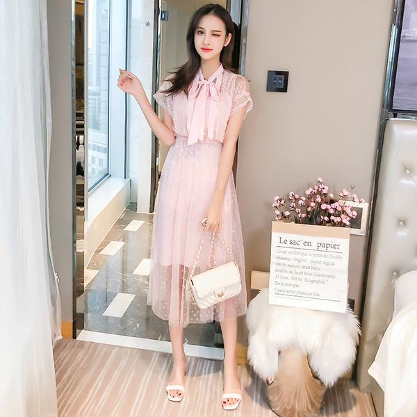 絕版出清 韓系蝴蝶結彩磨波點網紗假兩件短袖洋裝