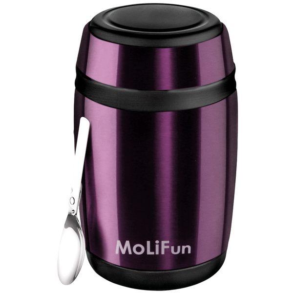 MoliFun魔力坊 不鏽鋼真空保鮮保溫罐/燜燒罐/食物罐550ml-時尚紫(MF0230V)