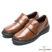 CUMAR 舒適上班族‧超輕量魔術貼皮鞋-棕色