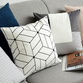 北歐幾何現代簡約黑白抱枕靠墊條紋格子抱枕套客廳沙發靠枕樣板房夢想巴士