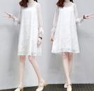 春夏新款寬鬆蕾絲裙A字款雪纺連衣裙3色2...