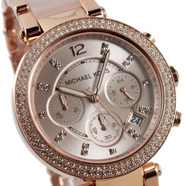 【萬年鐘錶】Michael Kors  晶鑽時標三眼多功計時碼錶 玫瑰金殼 玫瑰金錶面 玫瑰金錶帶 MK5896