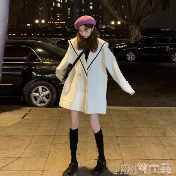 海軍領秋季外套女春秋新款韓版寬鬆中長款小個子呢子大衣 快速出貨