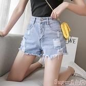 牛仔短褲 牛仔短褲女2021年夏季薄款潮韓版淺色高腰顯瘦破洞寬鬆a字熱褲ins suger 新品