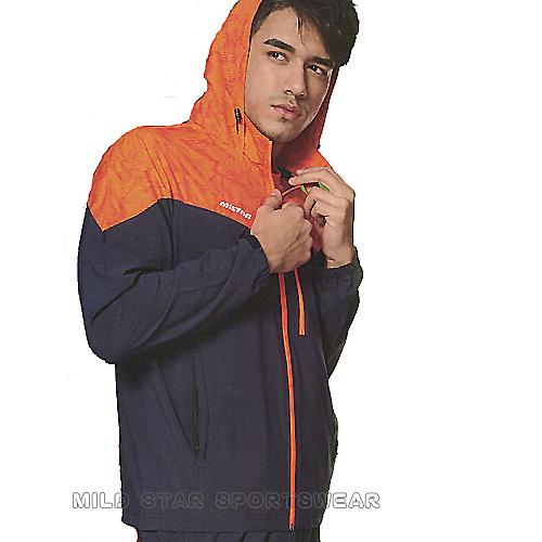 MILD STAR  男女平織網裡連帽運動服套裝[全套]-深藍橘-JS900102+PS900403