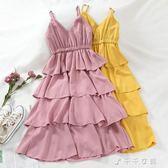 G132氣質時尚chic修身V領吊帶可調節層層蛋糕裙收腰顯瘦洋裝潮 千千女鞋