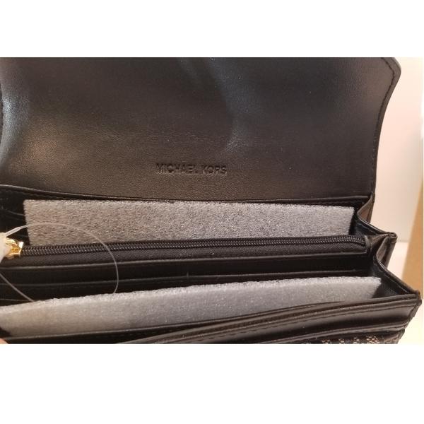美國Michael Kors MK荔枝紋皮革 黑色MK LOGO布面設計 多卡層 長夾 限時特賣