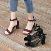 涼鞋女夏2018新款中跟粗跟黑色學生百搭露趾一字扣帶羅馬高跟鞋女 美芭