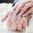 美甲用品  成品拆卸亮片堆鑚裸色假指甲貼片 新娘美甲甲片 可穿戴【果果新品】