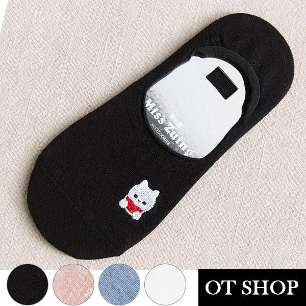 [現貨] 隱形襪 襪子 船型襪 短襪 動物圖案刺繡 素色棉質襪 透氣 吸汗 腳跟止滑設計 M1057 OT SHOP
