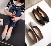 丁果、大尺碼女鞋34-43►簡約絨面小尖頭平底鞋*2色