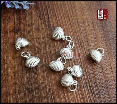 『素銀坊』足銀小貝殼鈴鐺掛墜~清新~DIY配件   (5個價)
