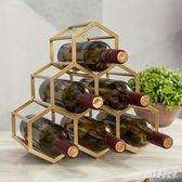 創意酒架擺件葡萄酒紅酒架子菱形酒格樣板間家用客廳金色酒櫃酒具 PA2963『pink領袖衣社』