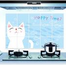 廚房壁貼 防油 防水【 白色貓咪】貼紙 防油貼【A5103】