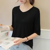 五分袖上衣 莫代爾t恤女半袖夏季寬鬆中袖大碼V領木代爾黑色體恤打底衫 Ballet朵朵