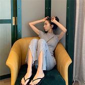 休閒套裝 休閒時尚運動套裝女夏裝新款港味復古開叉修身寬管喇叭褲兩件套潮「艾瑞斯居家生活」