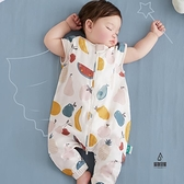 寶寶睡袋純棉紗布嬰兒睡袋薄款兒童防踢被四季通用【愛物及屋】