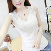 夏季新款韓版蕾絲背心女短款外穿寬肩吊帶打底衫修身顯瘦無袖上衣  居家物語