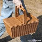 帶蓋野餐籃 仿藤編織提籃購物籃戶外水果籃禮品籃買菜籃子大 Lanna YTL