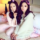 法蘭絨 毛茸茸 典雅公主風 睡裙一件式 睡衣 蝴蝶結蕾絲裝飾 長袖居家服