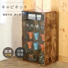 台灣製可調式木紋5格玻璃展示櫃 門櫃 收納櫃 置物櫃 家美