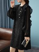 洋裝 大碼連身裙秋季韓版拼接加有里布荷葉邊袖木耳領口連身裙NB11快時尚