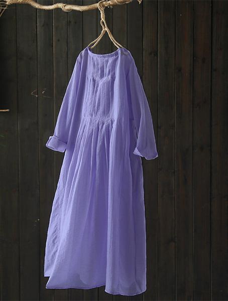 風琴褶皺/紫羅蘭感天絲人棉洋氣長洋裝-設計家Q2590
