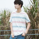 夏季新款韓版男士條紋圓領冰絲短袖T恤男學生小清新寬鬆休閒