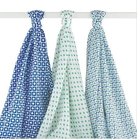 Hudson Baby  嬰兒包巾 3件組(色塊圖案)