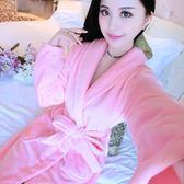 睡衣 浴衣睡袍睡衣浴袍女秋冬季加厚性感法蘭絨長袖可愛珊瑚絨家居服【快速出貨】