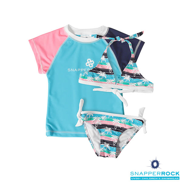 兒童泳衣 _女童短袖防曬 UPF 50+上衣+比基尼式泳衣/ 美國Snapper Rock_棕櫚樹