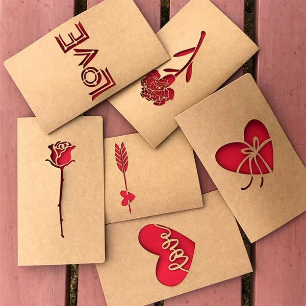 【BlueCat】牛皮紙裸空紅色LOVE母親節賀卡 感謝卡片