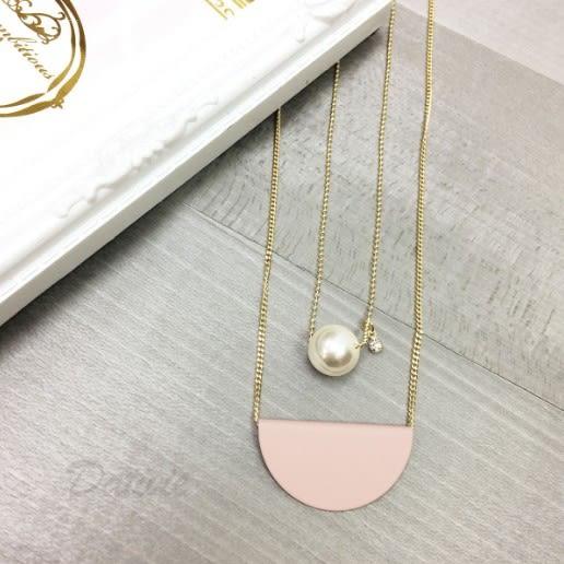 韓國 氣質公主 珍珠 水鑽 淡雅玫瑰半圓 雙層次 項鍊 可扣式 頸鍊 細鍊