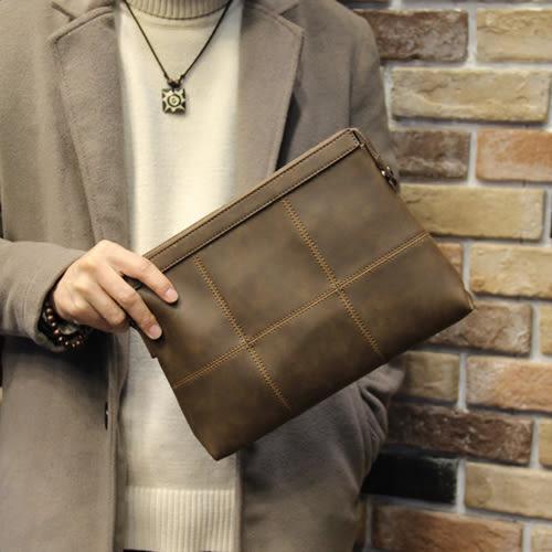 PocoPlus 新款復古男士手包瘋馬皮 青年手拿信封包男大容量韓版潮手拿包 B900