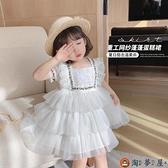 女童連身裙夏裝裙子網紅紗裙兒童仙女連身裙寶寶公主裙兒童洋裝【淘夢屋】