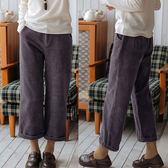 休閒褲-高級灰紫色八條全棉燈蕊絨寬鬆直筒寬管九分/設計家 K91032