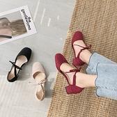 粗跟單鞋女2021夏新款仙女風韓版淺口方頭綁帶網紅百搭高跟鞋涼鞋 【端午節特惠】