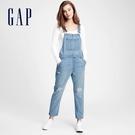 Gap女裝 時尚做舊破洞牛仔吊帶褲 88...
