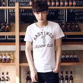 男T恤 男短t恤 韓版T恤 短袖T恤 韓版學生 修身個性印花T恤【非凡上品】z463