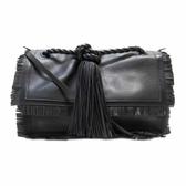 VALENTINO 范倫鐵諾 黑色牛皮流蘇造型手提肩背兩用包 【二手品牌 BRAND OFF】