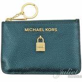茱麗葉精品【全新現貨】MICHAEL KORS ADELE 鎖頭造型鑰匙環零錢包.翡翠綠