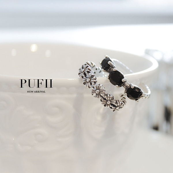 PUFII-戒指 925純銀黑鑽/花朵造型戒指-1220 現+預 冬【CP15792】