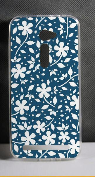 ♥ 俏魔女美人館 ♥ ASUS 華碩5吋 Zenfone 2 /ZE500CL {藍色碎花*軟殼} 手機殼 手機套 保護套 保護殼