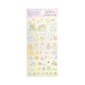 〔小禮堂〕角落生物 造型透明果凍貼紙組《粉黃.拿汽球》裝飾貼.黏貼用品 4974413-74158