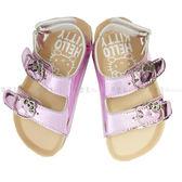【KP】拖鞋 兒童 三麗鷗 Hello Kitty 後扣帶 金屬感 漆皮 勃肯 正版授權 DTT0514197