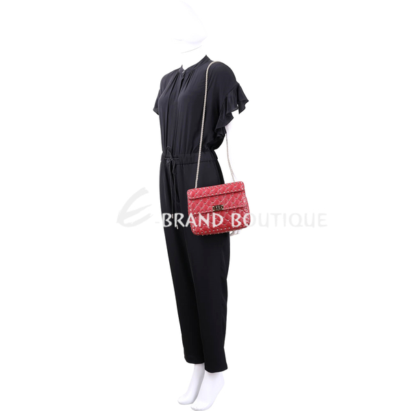 VALENTINO Rockstud Spike 中型絎縫羊皮菱格鉚釘兩用搖滾包(紅色) 1810496-54