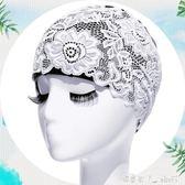 游泳帽泳帽女長發成人防水加大不勒頭韓國時尚護耳大碼PU蕾絲 潔思米